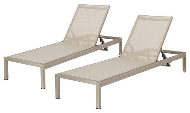 Cape Coral Gray Outdoor Mesh Chaise Lounge, Set of Two