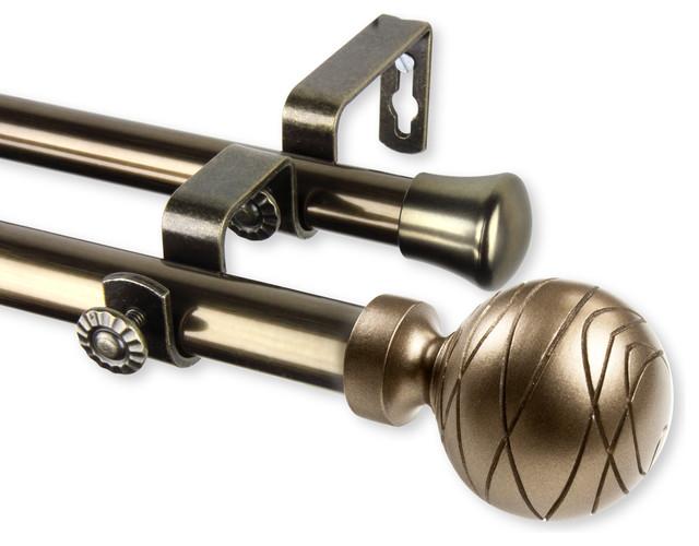 "Arman Double Curtain Rod, Antique Brass, 48-84""."