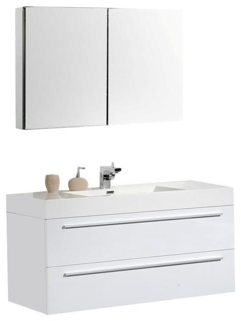Aquamoon Maya Modern Bathroom Vanity Set White 47