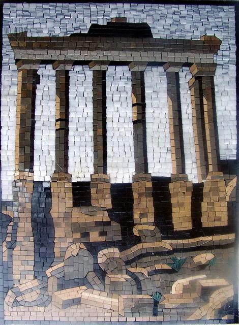 Ancient roman ruins mosaic mural mediterranean mosaic for Ancient roman mural