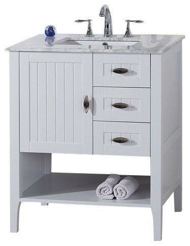 Single Sink Vanity, White With Marble Top, 30