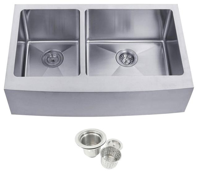 Stainless Steel Undermount Farmhouse 40/60 Double Bowl Kitchen Sink.