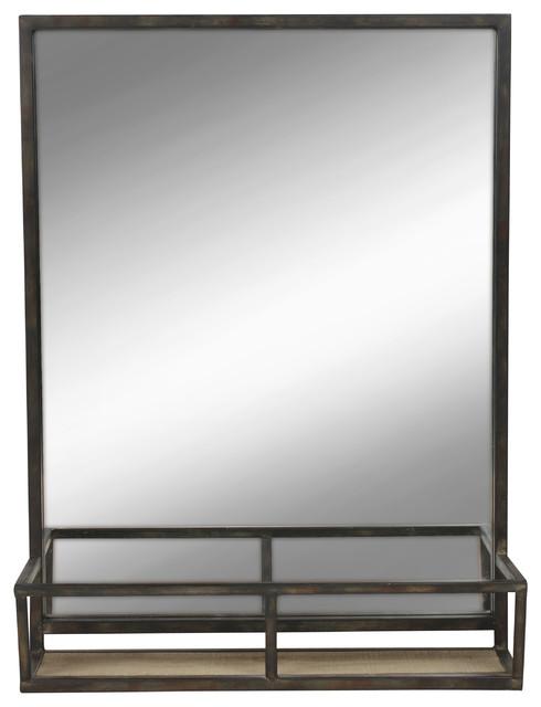 Wall Mirror With Shelf jackson mirror and shelf, black - modern - wall mirrors -uniek