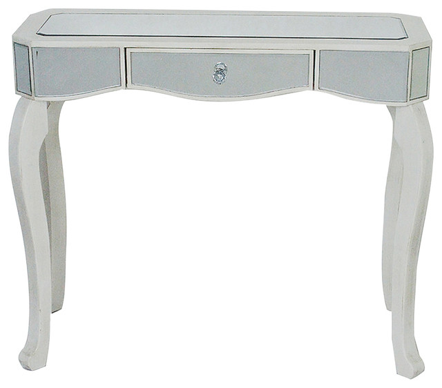 1 Drawer Mirrored Console Table Mdf Wood Gl Transitional Tables By Virventures