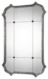 Uttermost - Uttermost Metallic Silver Mirror Lesi Iron, Mirror, MDF - View in Your Room!   Houzz