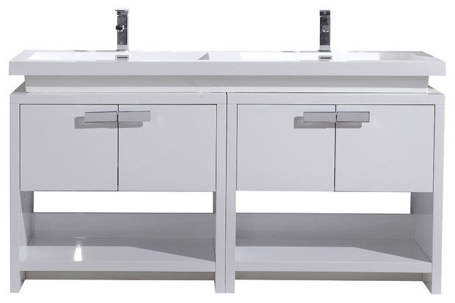 tona levi 63 high gloss modern bathroom vanity with cubby hole white contemporary