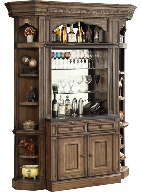 Parker House Aria 4-Piece Bar Cabinet, Antique Vintage Smoked Pecan - Parker House Aria 4-Piece Bar Cabinet, Antique Vintage Smoked Pecan