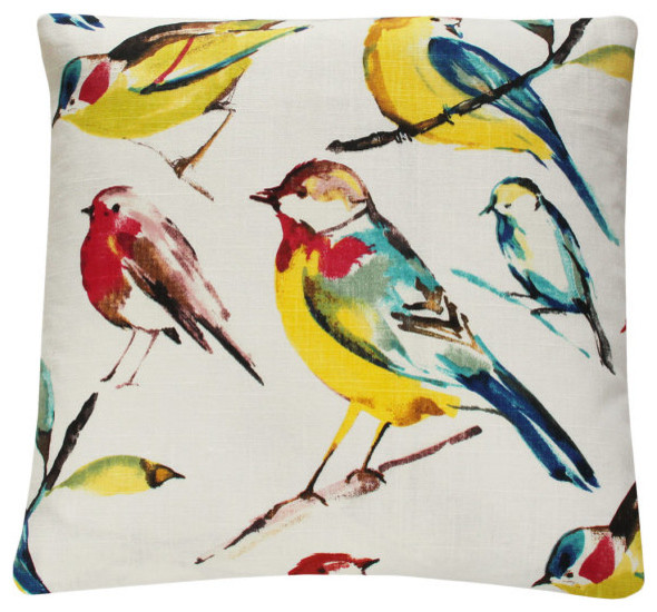Red Bird Throw Pillow : Yellow Red Bird on Branch Decorative Pillow l Chloe and Olive