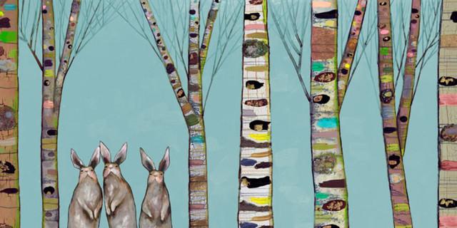 Bunnies In The Woods Canvas Wall Art By Eli Halpin, 72x36.