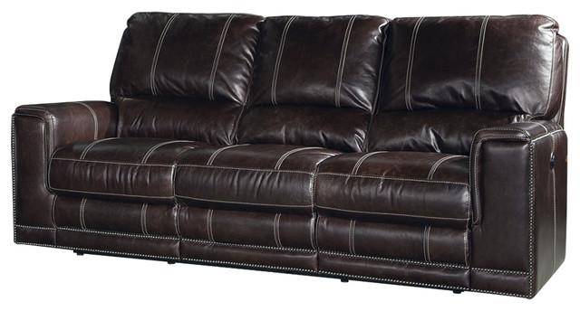 Parker Living Salinger Sofa Dual Power Recliner, Sangria Transitional Sofas