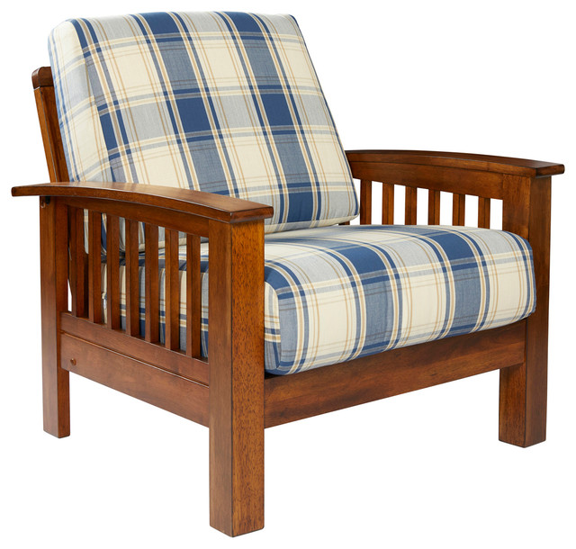 Maison Hill Mission Style Arm Chair With Exposed Wood Frame, Blue Plaid
