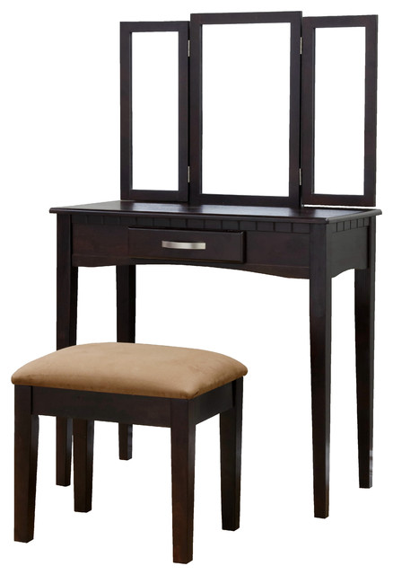 Wood 3 Piece Vanity Set Espresso