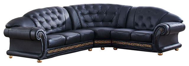 Cleopatra Versa Italian Leather Sectional Sofa, Black Traditional Sectional  Sofas