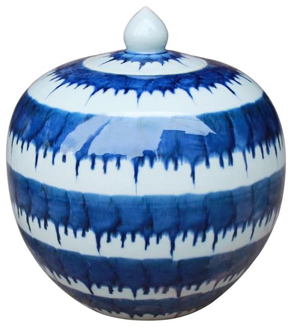Parnell Modern Classic Blue and White Drip Melon Porcelain Jar