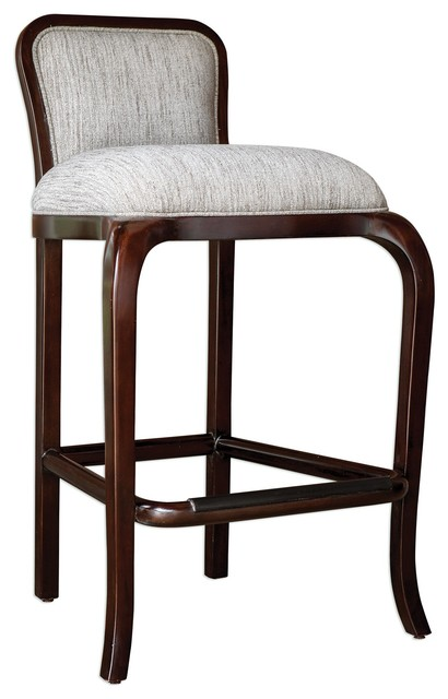 Elegant Curvy Sculpted Bar Stool W Back Mahogany Wood Counter Tall Plush Comfy Transitional