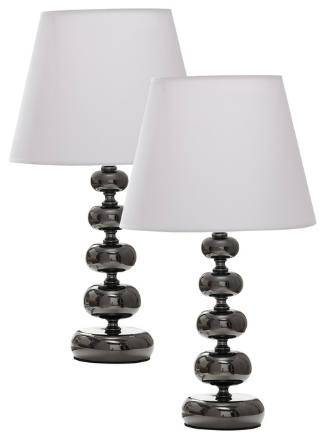Gun With White Fabric Shade Contemporary Table Lamps, Set Of 2.