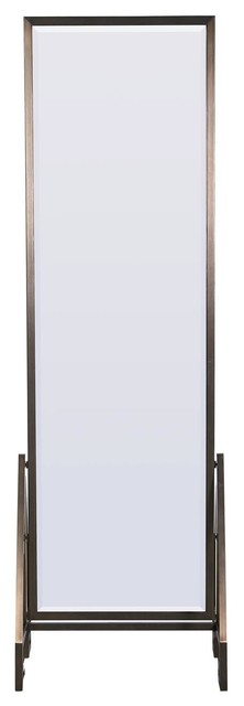 Modern Hollywood Regency Bronze Frame Floor Mirror.
