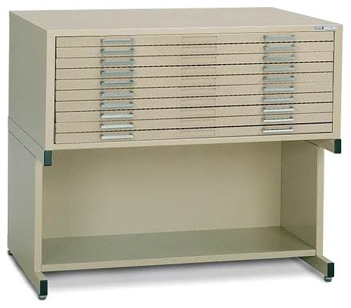 Ten-Drawer Sand Beige Horizontal File Storage Unit & Base (24 in. x 36 in.) - Contemporary ...