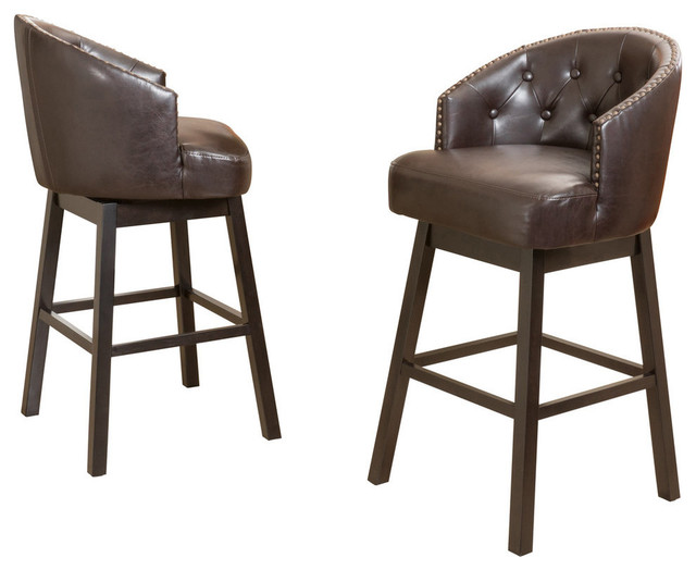 Amazing Gdf Studio Westman Brown Leather Swivel Backed Bar Stools Set Of 2 Unemploymentrelief Wooden Chair Designs For Living Room Unemploymentrelieforg