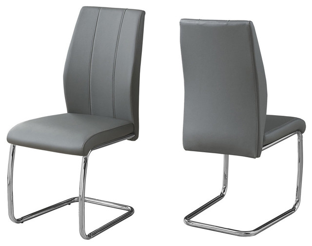 Leather-Look Dining Chair With Chrome Base, Set Of 2, Gray.
