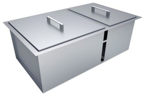 "Over/under 34""x12"" H8 Double Basin Sink With Covers."