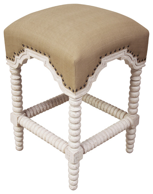 Abacus Counter Stool With Olive Cotton Fabric Bar Stools