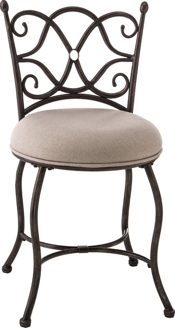 Brody Vanity Stool, Gray With Rubbed Black.