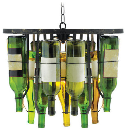 Green/yellow/orange 2 Light Down Lighting Pendant W/ 15 Glass Bottles.