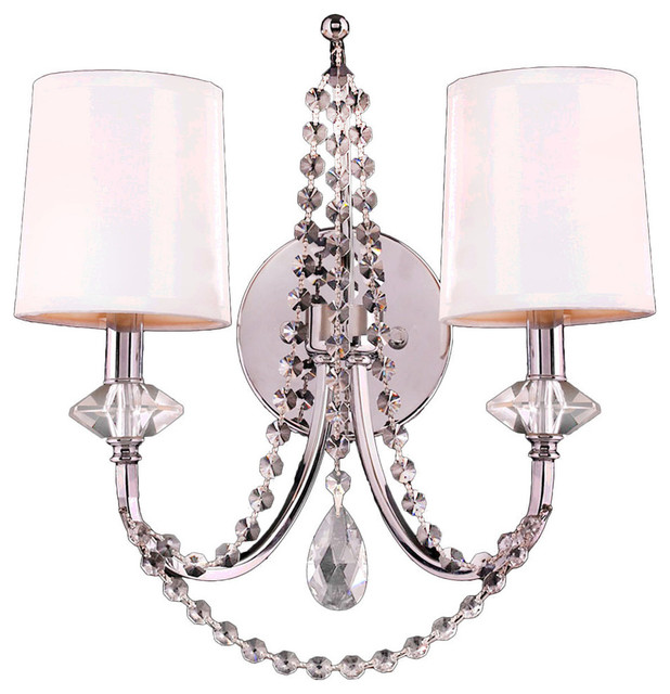 Modern 2 Light Chrome Finish Clear Crystal Wall Sconce White Silk Shade - Contemporary - Wall ...