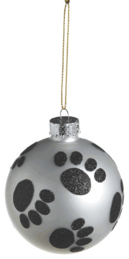Paw Print Christmas Tree Ornament - Glass Ball Dog Pet Animal Holiday Gift