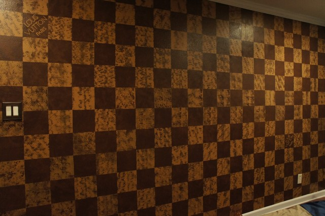 Louis vuitton damier style accent wall