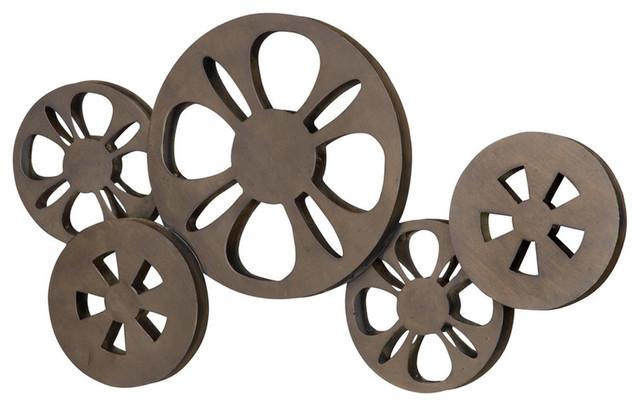 Antique Movie Reel Wall Bronze Metal Vintage Home Entertainment Room Decor New