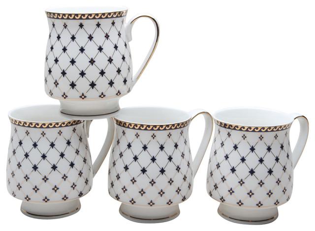 Coastline Imports Grace S Teaware Trellis Footed Mugs