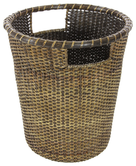 Traditional Small Wicker Basket With Liner&handle : Rattan small desk waste basket traditional