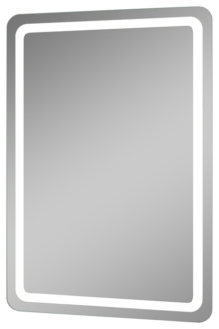 Electric LED Mirror With Rounded Edges 28 X 32 Contemporary Bathroom Mirrors