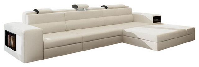Polaris Mini Contemporary Leather Sectional Sofa With Light White