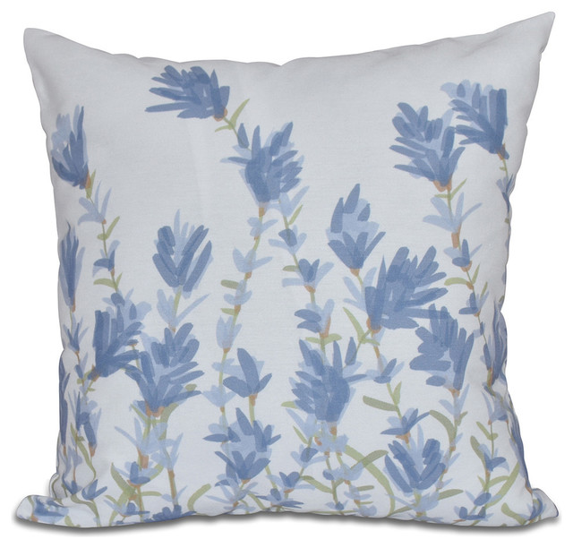 Modern Print Pillows : E by Design - Lavender, Floral Print Pillow - View in Your Room! Houzz