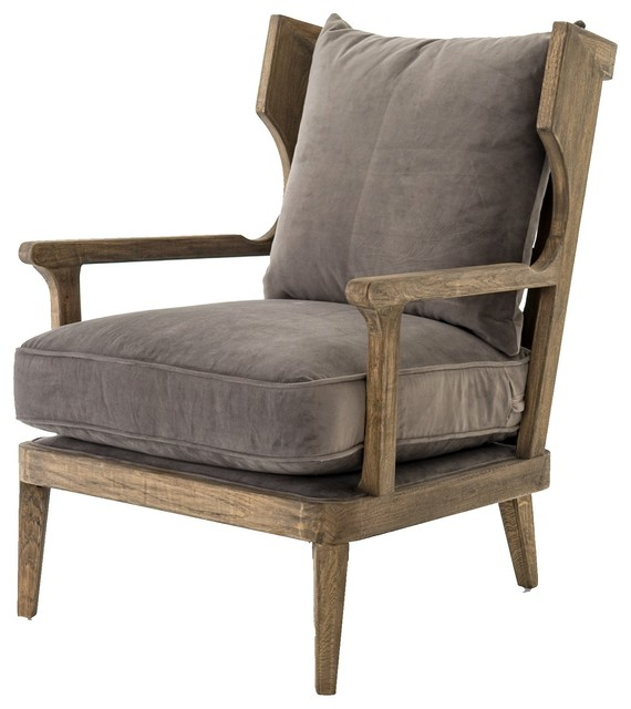Lennon Exposed Oak Gray Velvet Wingback Chair, Imperial Mist