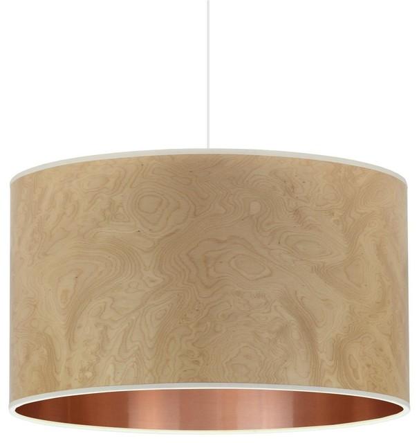 Light Burl and Copper Wood Veneer Drum Lampshade, 35 Cm
