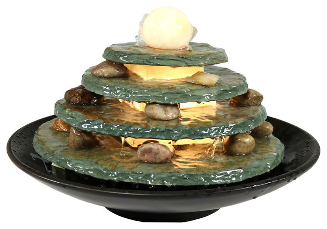 Round Multi-Level Slate Tabletop Water Fountain With Led Light, 8