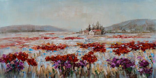 """A Flower Field in Italy II"" Hand Painted Canvas Artwork; Fine Art; Modern"