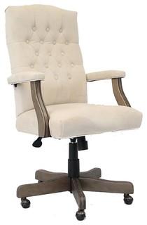 elegant cream driftwood buttontufted office chair