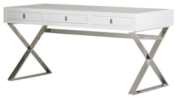A&X Congress Transitional White Crocodile Desk contemporary-desks -and-hutches