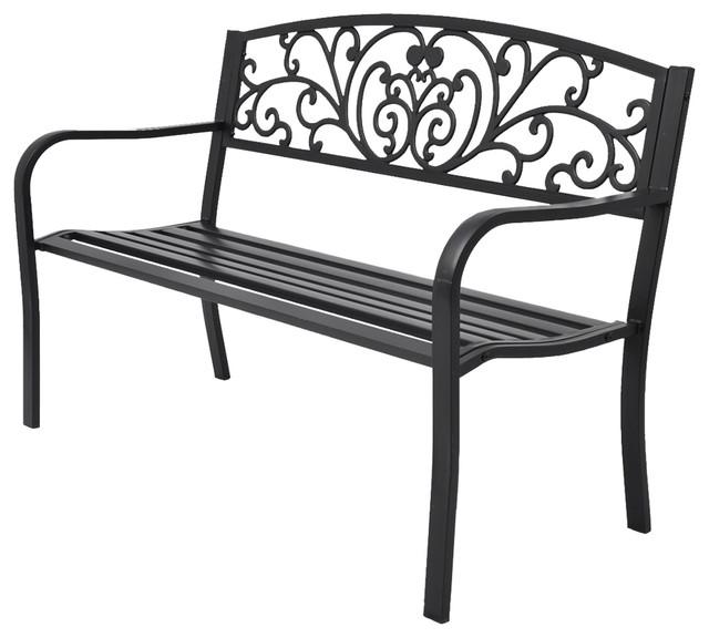 Vidaxl Garden Bench Black Cast Iron Mediterranean