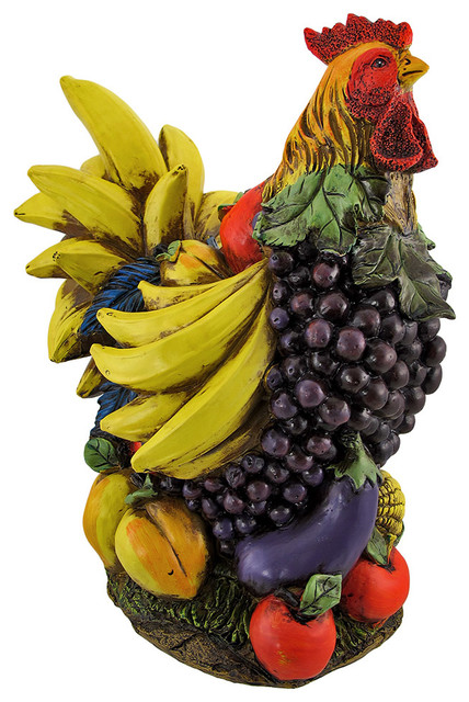 Colorful Large Fruit And Vegetable Chicken Kitchen Statue