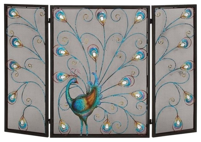 Benzara Peacock Themed Metal 3-Panel Fireplace Screen, Multicolor.