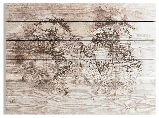 Wood World Map Print On Wood, 80x60 cm