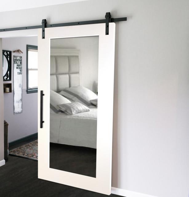 "Mirrored Sliding Barn Door With Mirror Insert + Hardware Kit, 38""x84"", 1 Mirror/"