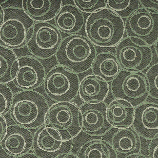 Green White Overlapping Circles Durable Upholstery Fabric By The Yard