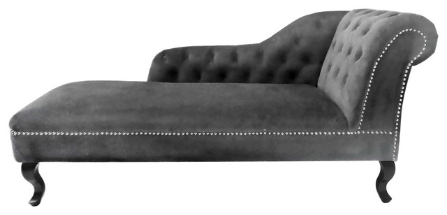 Beau Regents Park Chesterfield Chaise Lounge, Gray